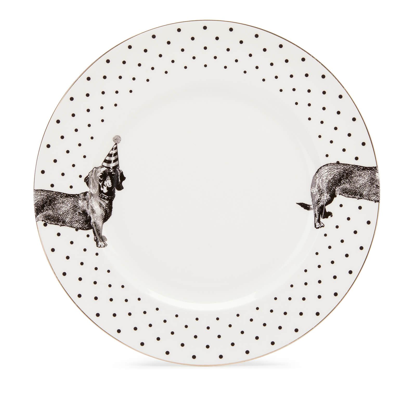 Yvonne Ellen Party Pup Dinner Plate - White