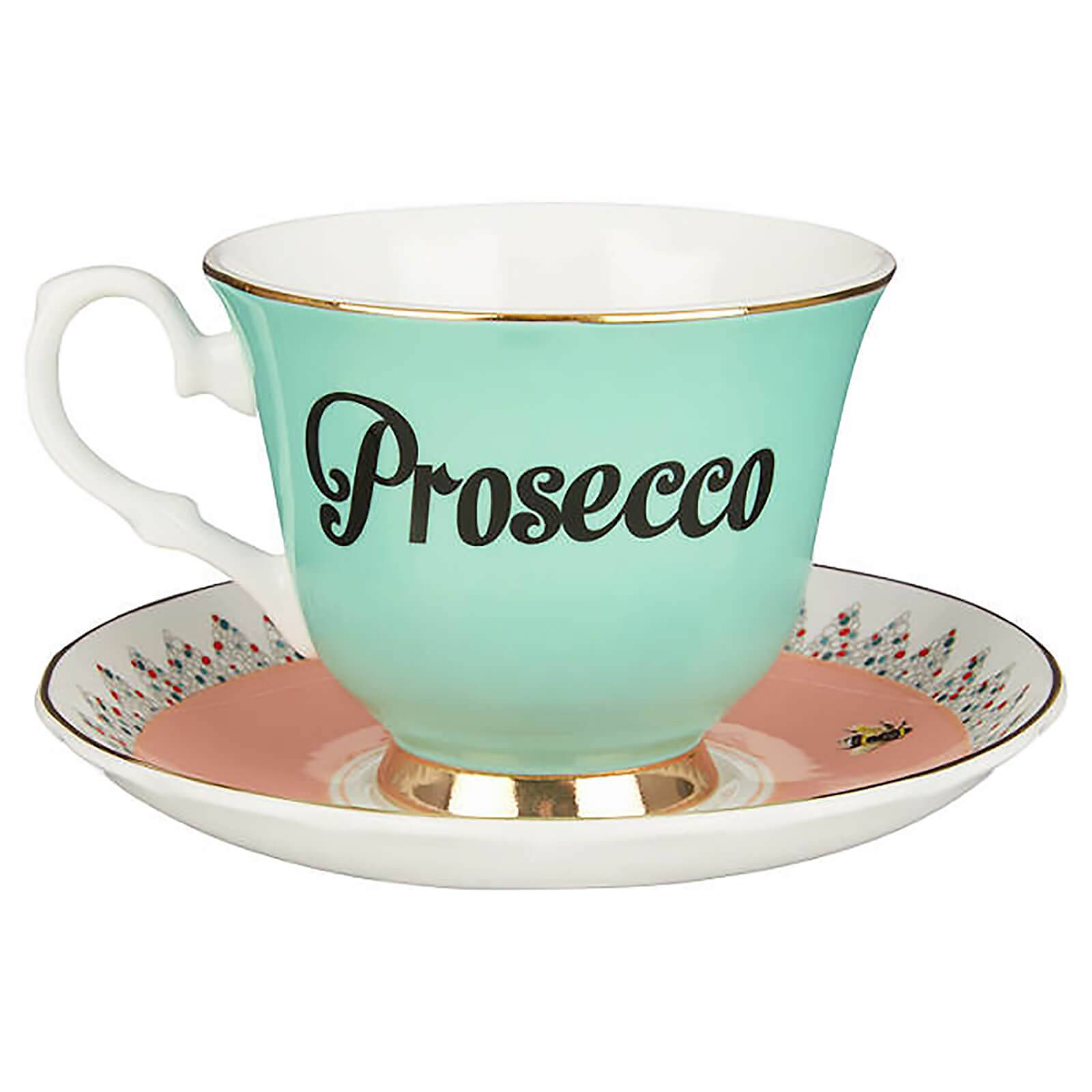 Yvonne Ellen Prosecco Teacup and Saucer - Green