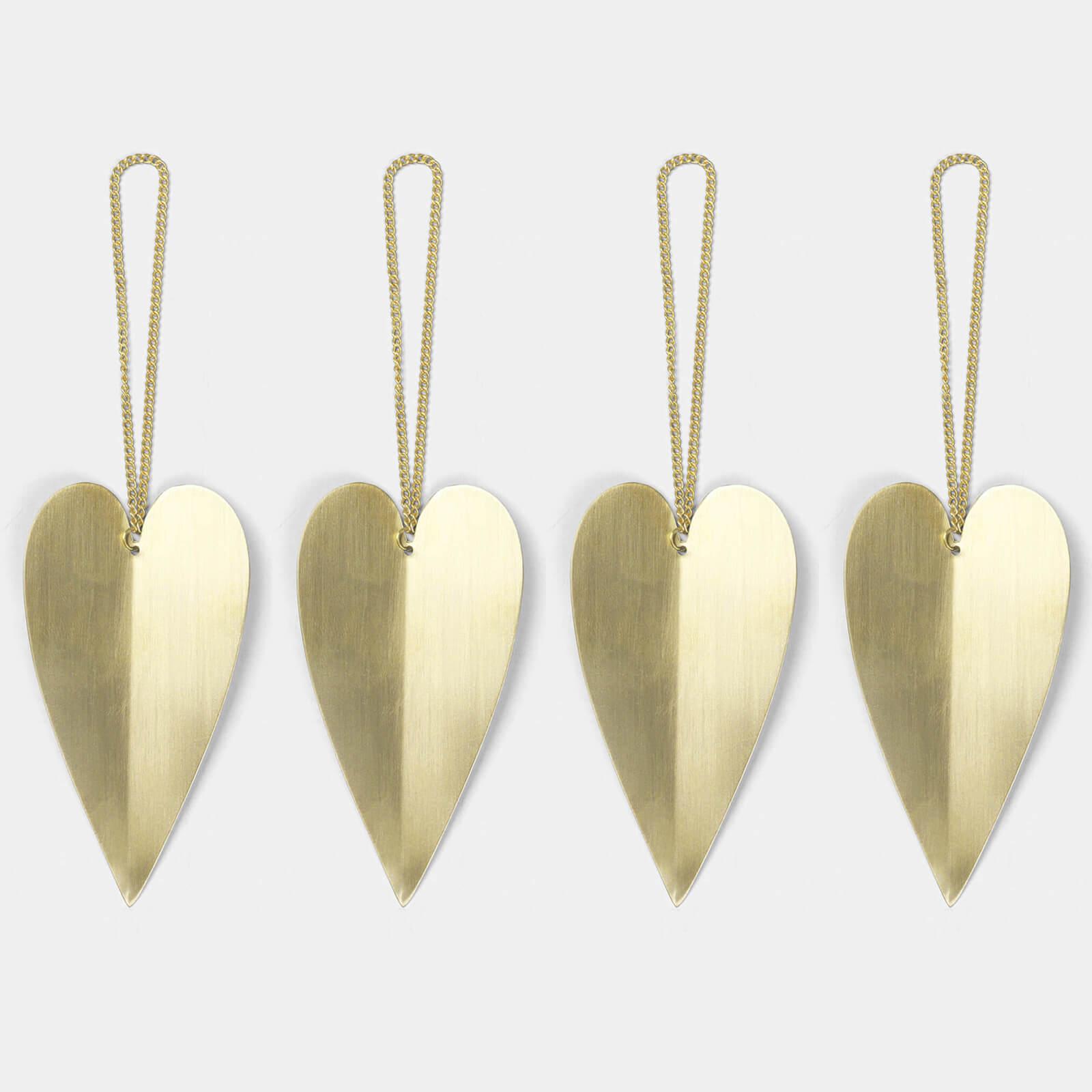 Ferm Living Heart Brass Ornaments (Set of 4)