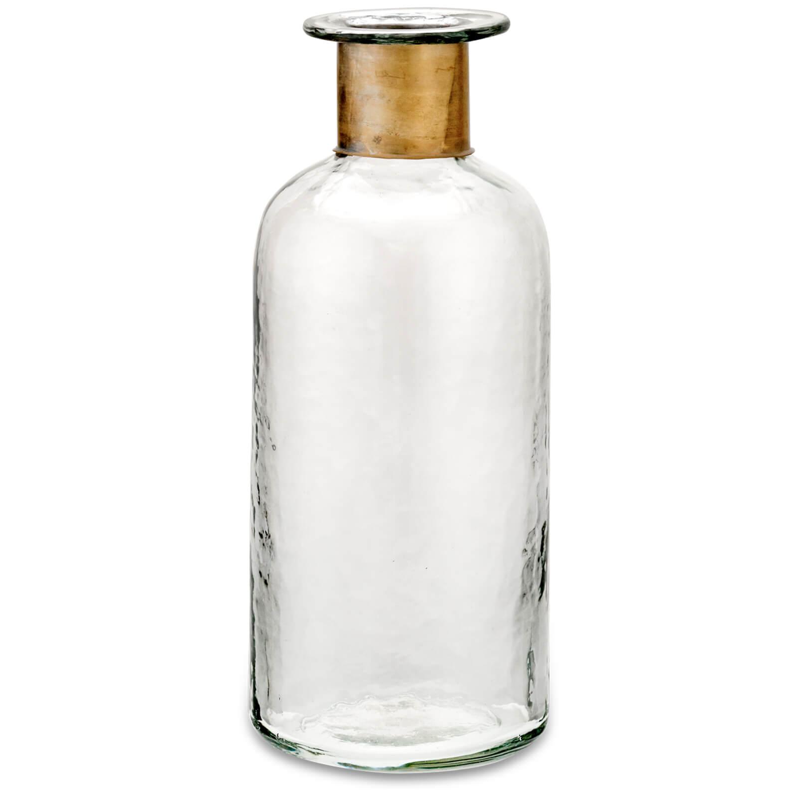 Nkuku Chara Hammered Bottle - Clear Glass & Antique Brass - 31.5cm