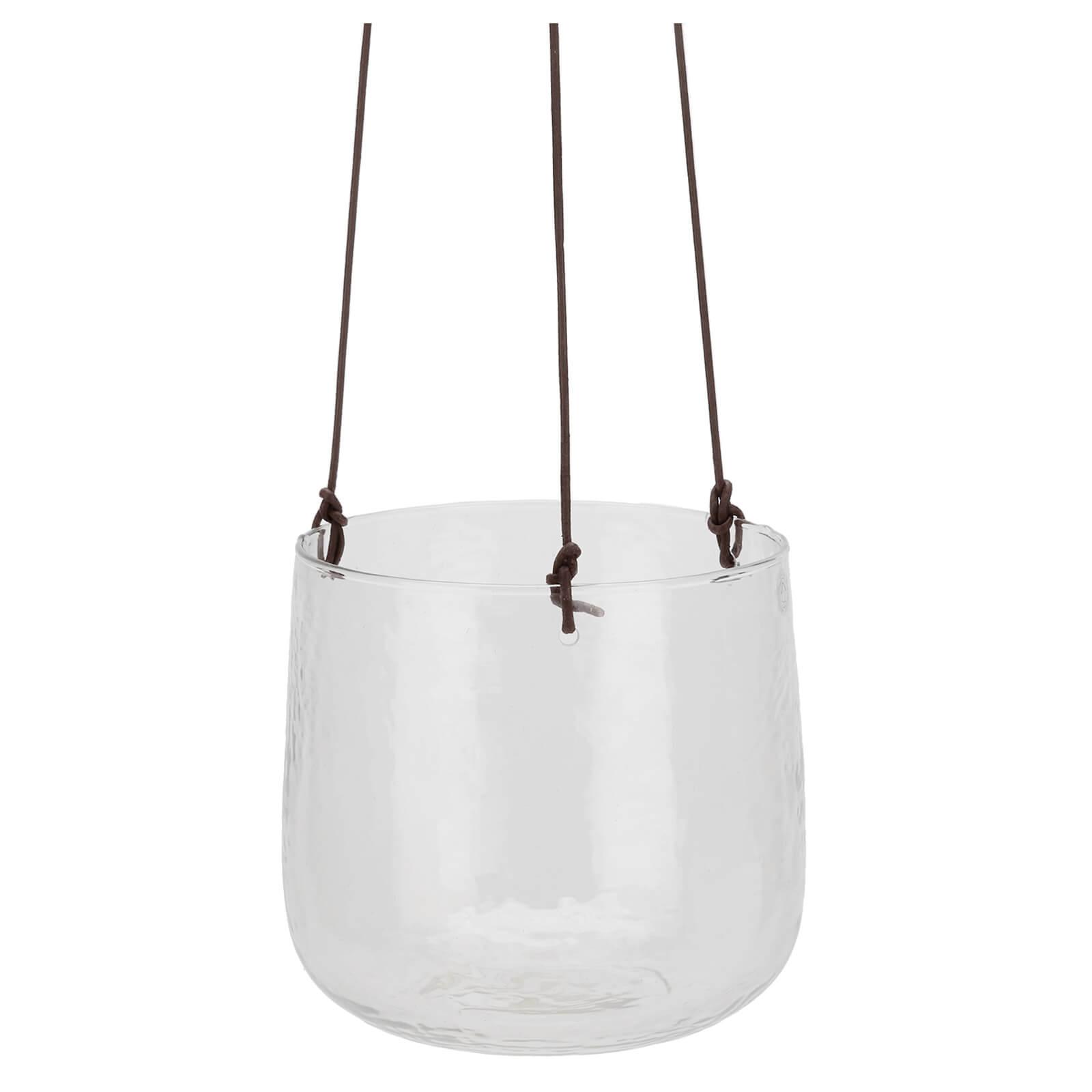 Nkuku Viri Hanging Planter - Clear Hammered Glass - Large