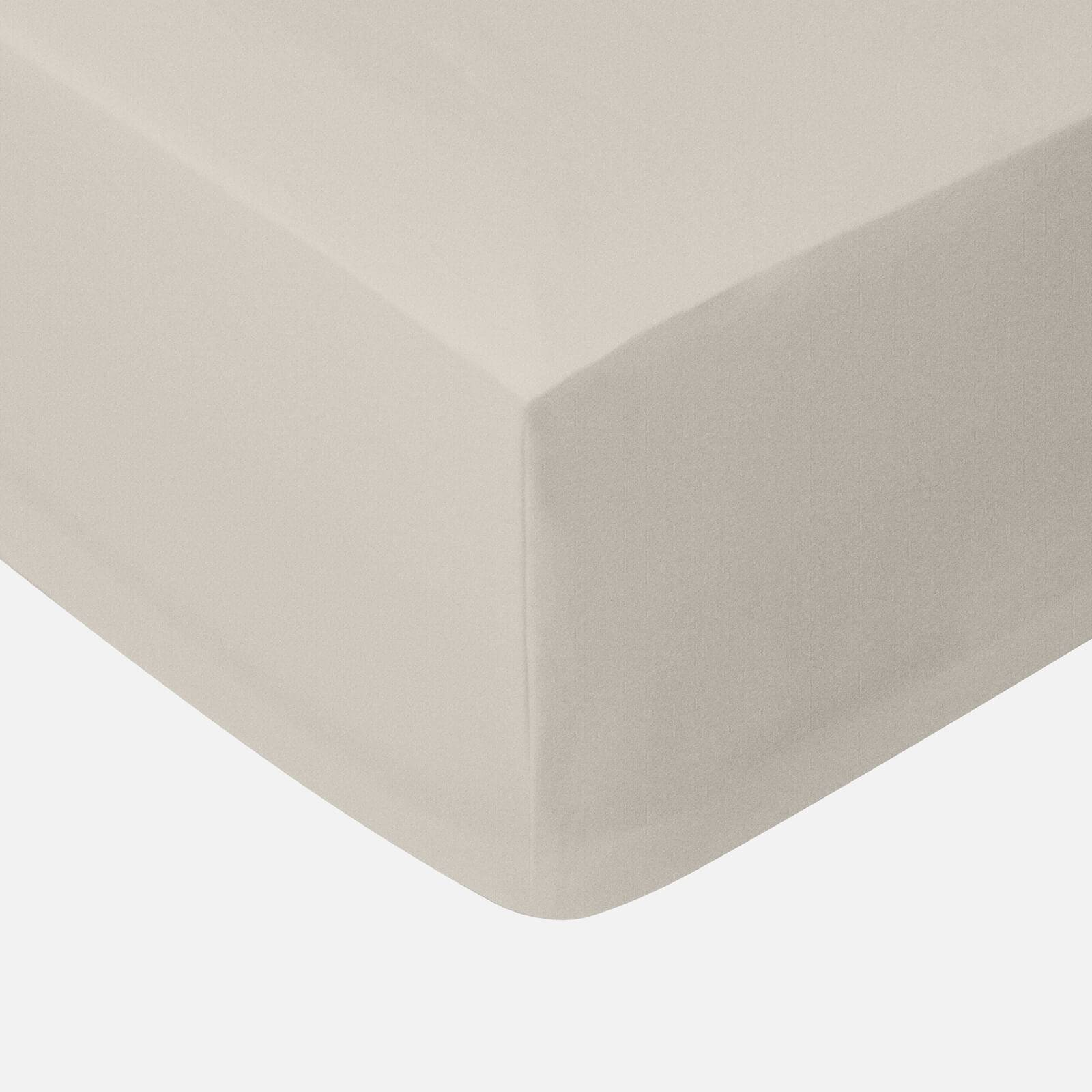 in homeware 200 Thread Count 100% Cotton Fitted Sheet - Natural - Double - Nude