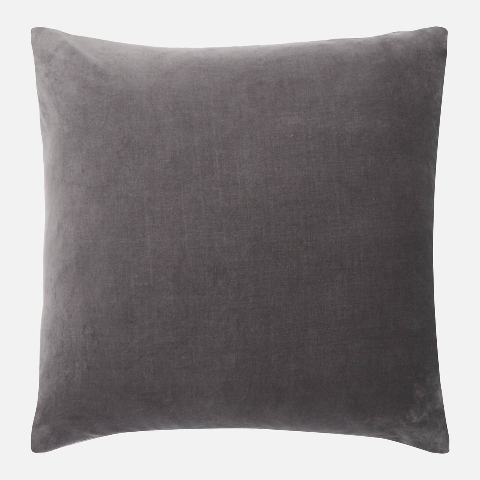 in homeware Cotton Velvet Cushion - Dark Grey