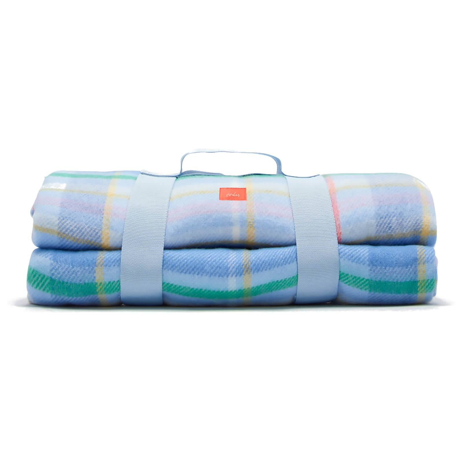 Joules Check Picnic Blanket - Blue