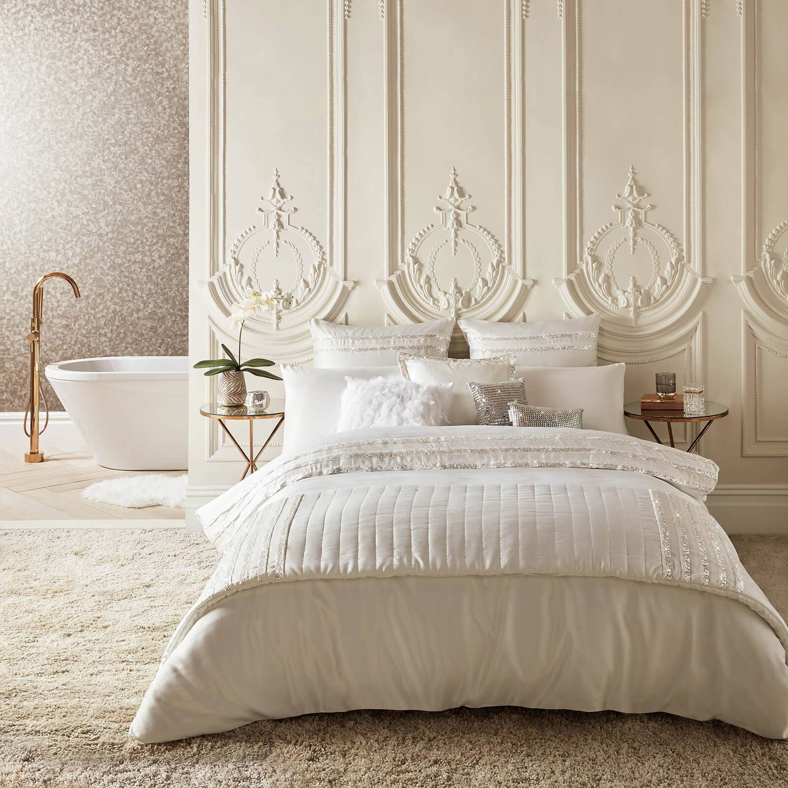 Kylie Minogue Bardot Quilt Duvet Cover - Oyster - Double