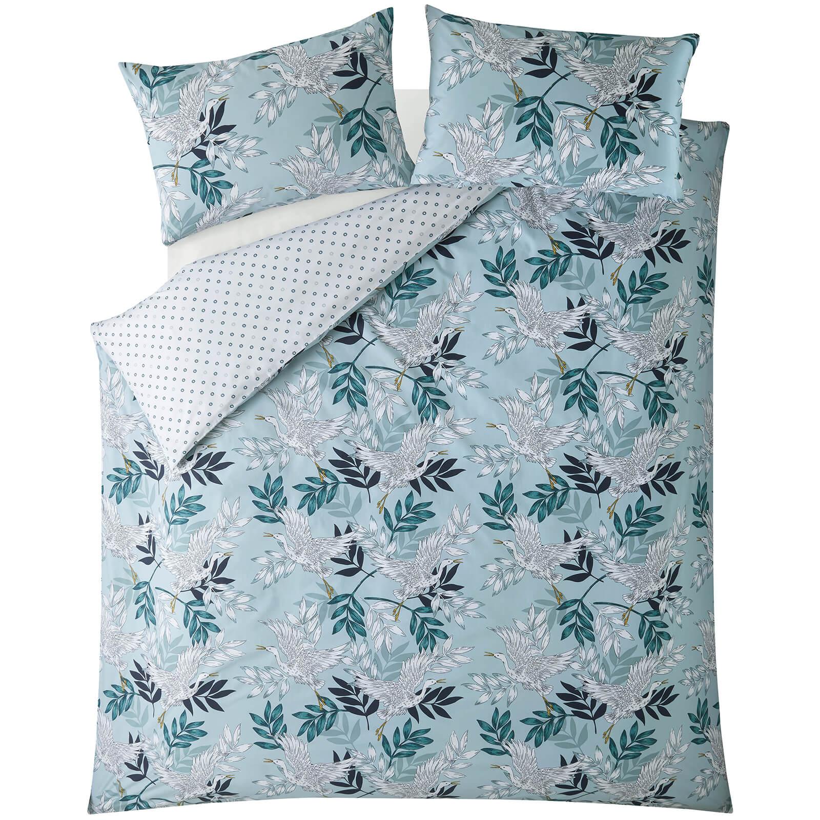 Fat Face Oriental Crane and Palm Quilt Duvet Cover Set - Duck Egg - Double
