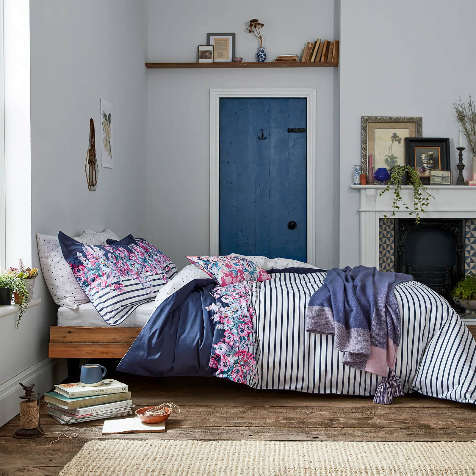 Joules Cottage Garden Border Stripe Duvet Cover - Navy - Super King