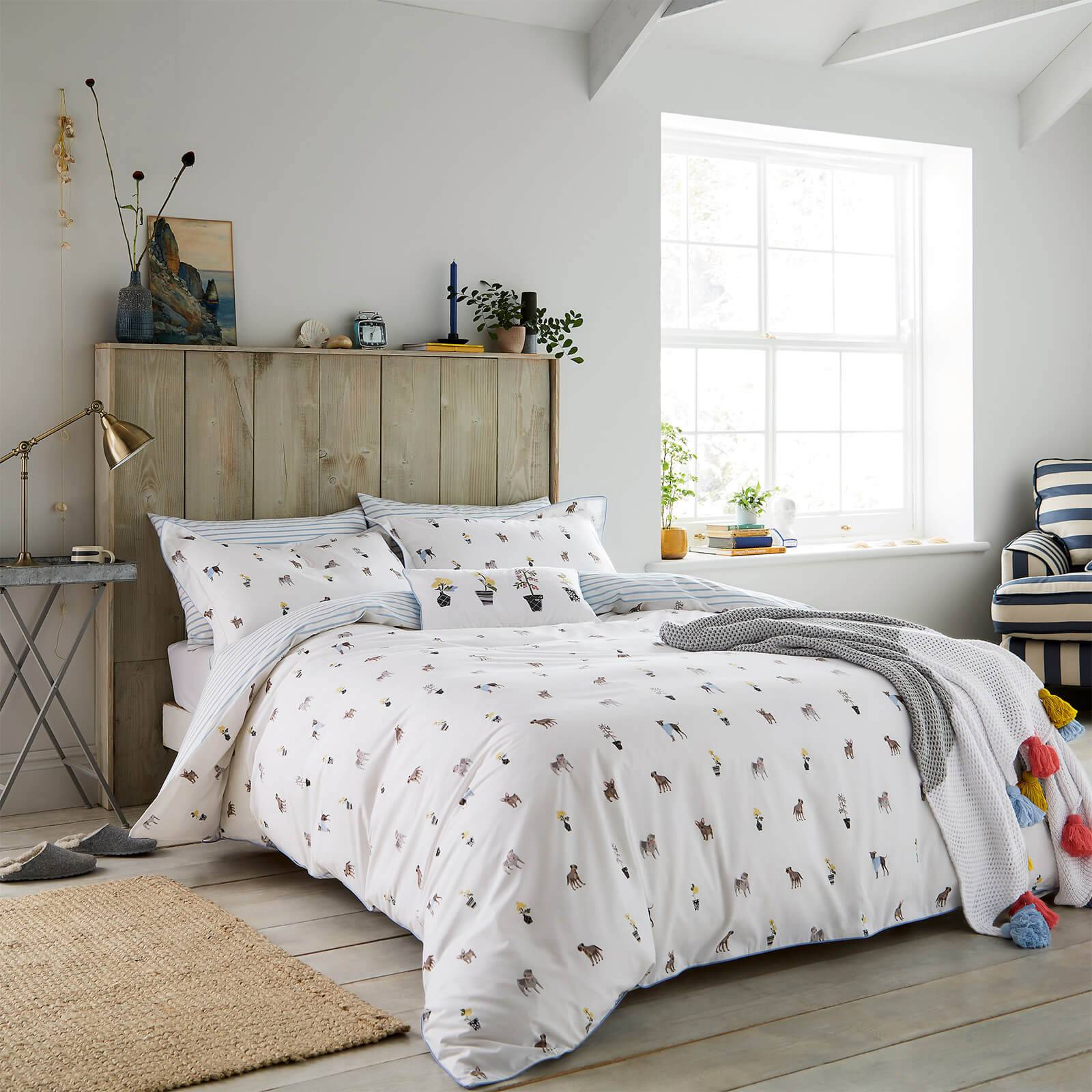 Joules Garden Dogs Duvet Cover - White - Double