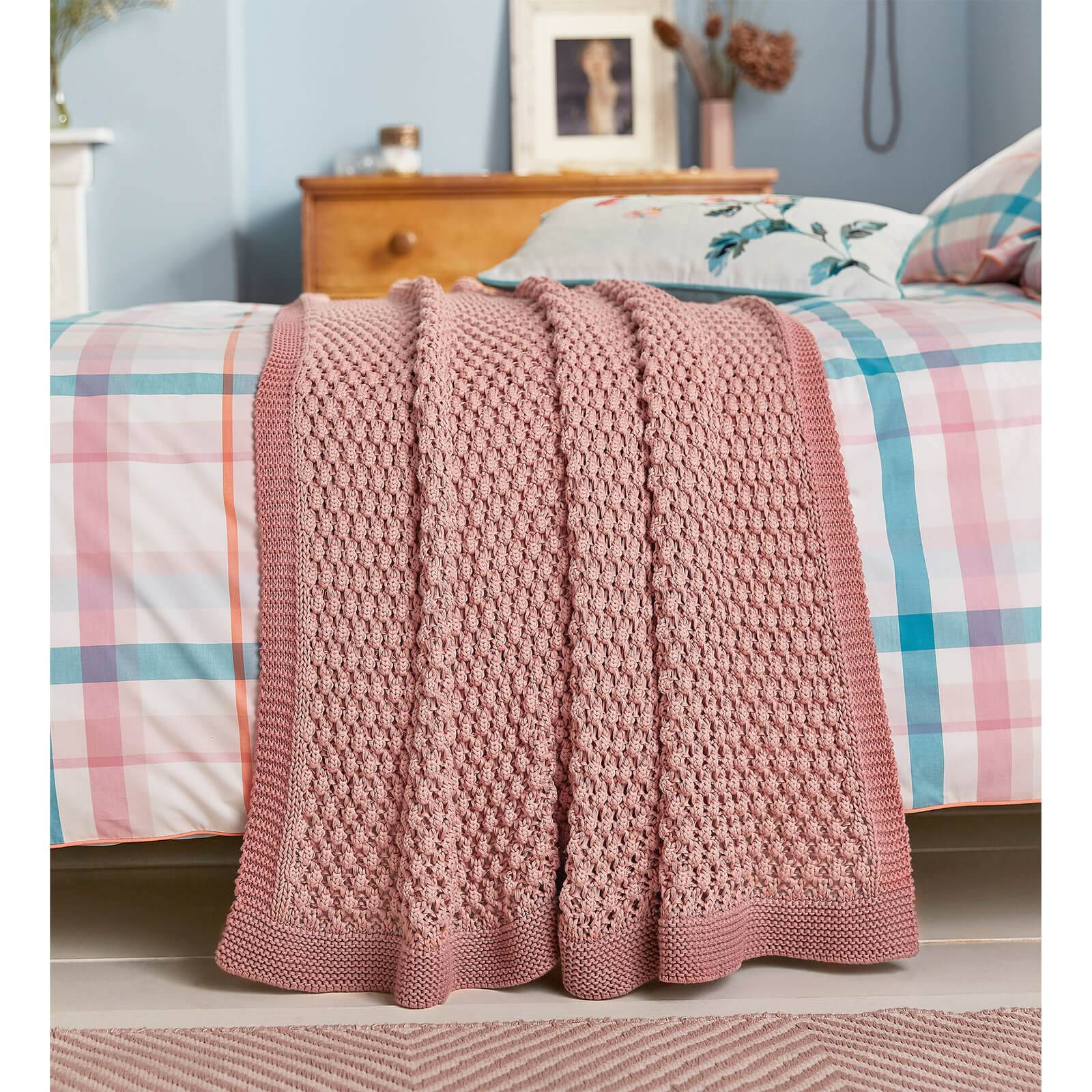 Joules Cottage Check Throw - Pink