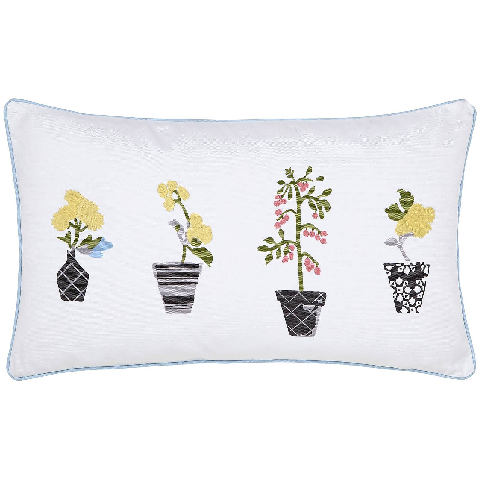 Joules Garden Dogs Cushions - White