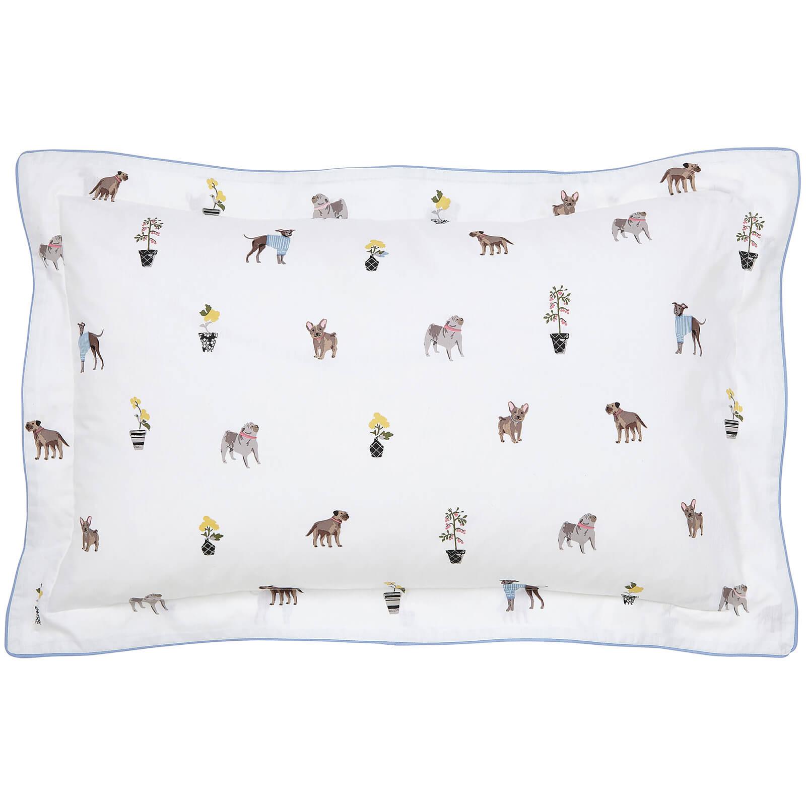 Joules Garden Dogs Oxford Pillowcase - White