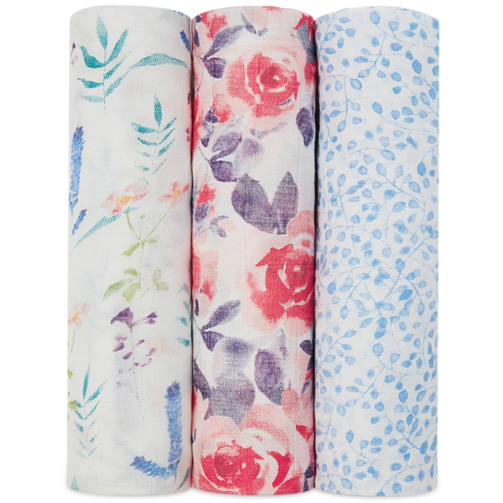 aden + anais Silky Soft Swaddles - Watercolour Garden (3 Pack)