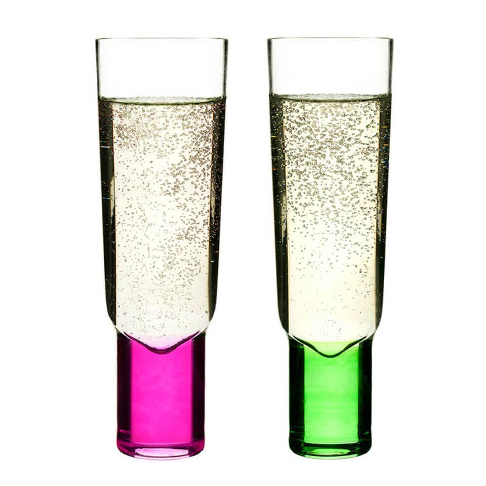 Sagaform Club Champagne Glasses 2 Pack - Pink/Green