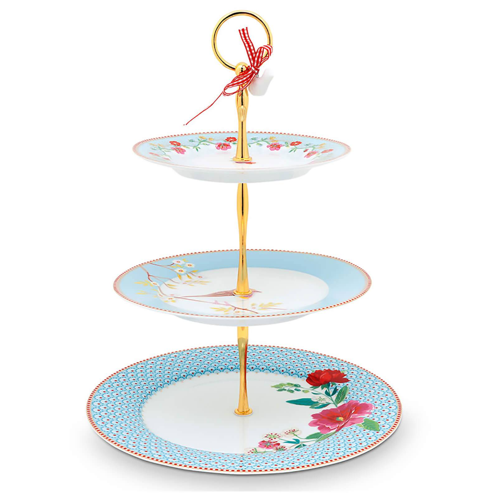Pip Studio 3 Tier Floral Cake Stand - Blue