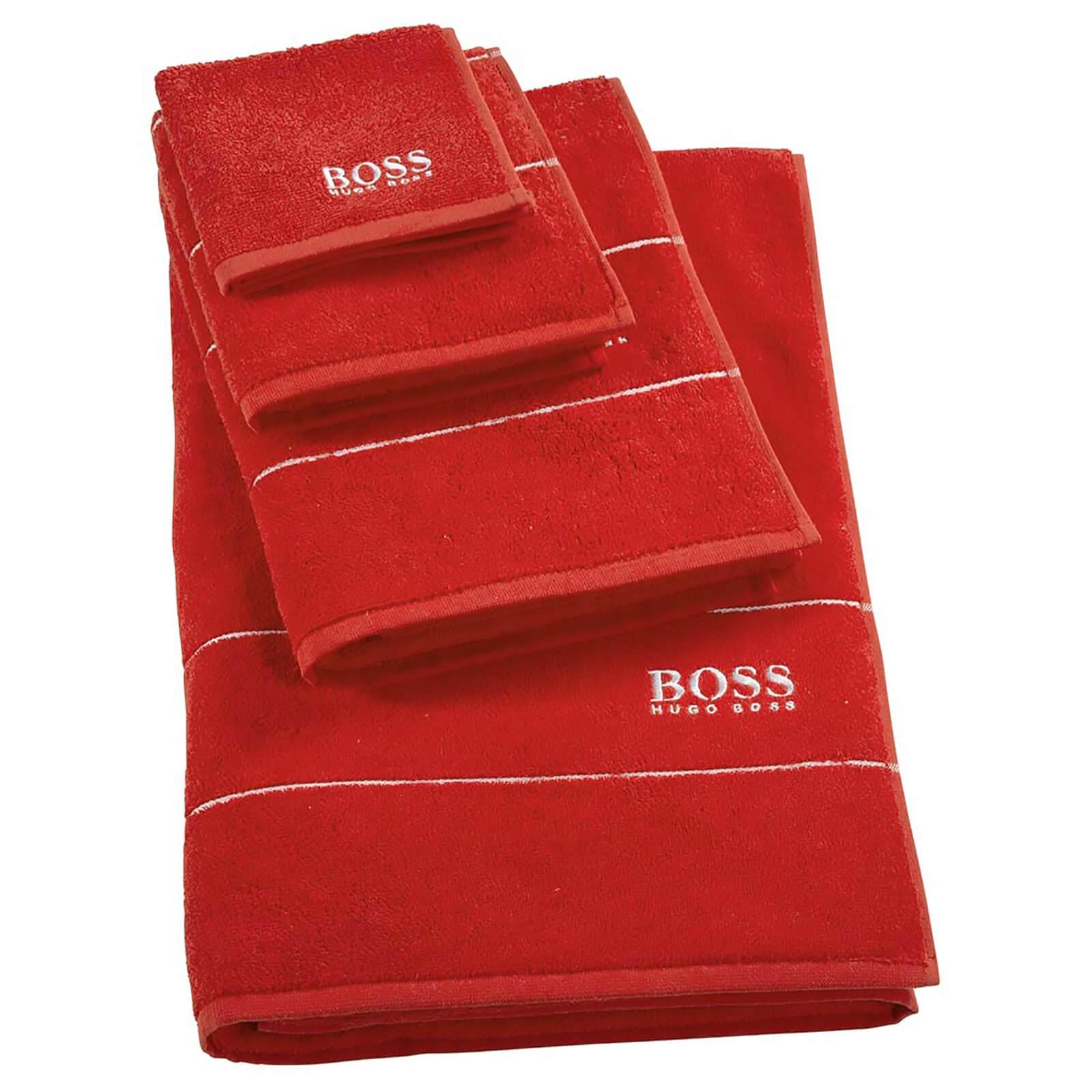 Hugo Boss Plain Towel Range - Poppy - Face Cloth - Red