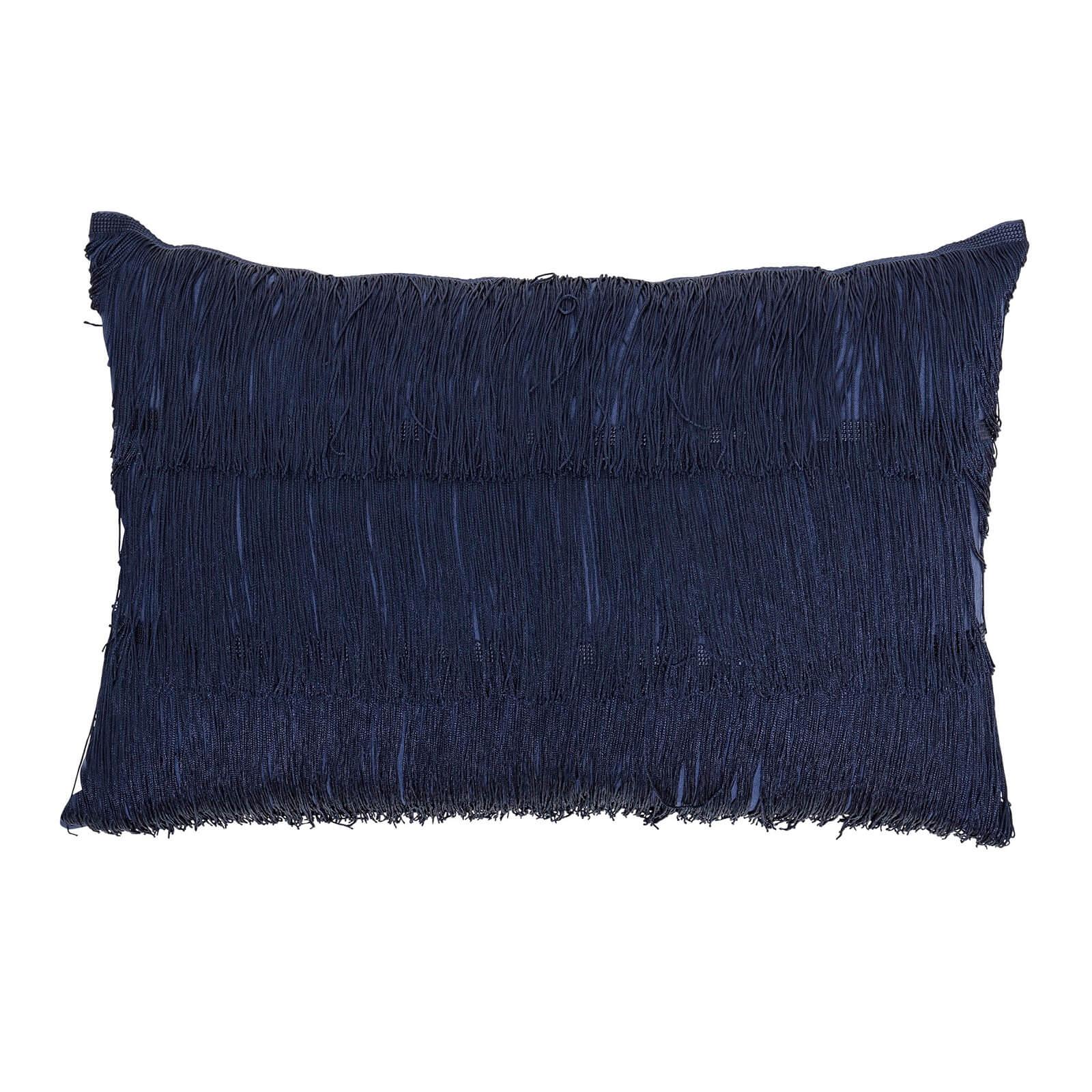 Bloomingville Fringe Detail Cushion - Blue