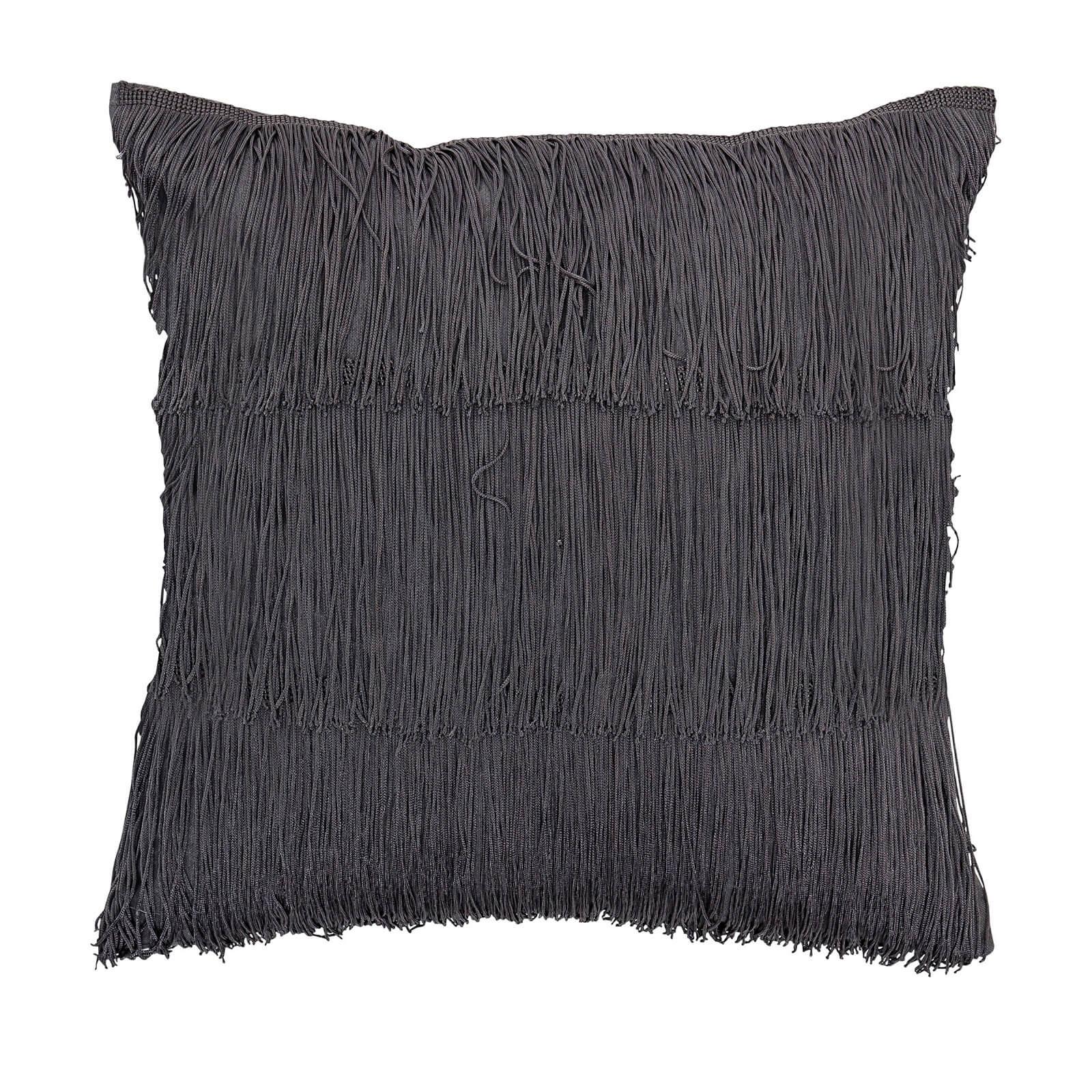 Bloomingville Fringe Detail Cushion - Grey