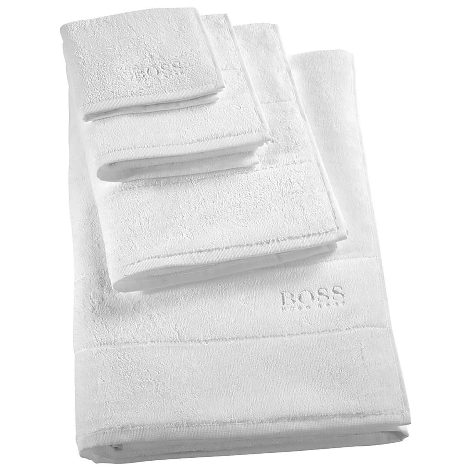 Hugo Boss Plain Towels - Ice - Face Cloth - White