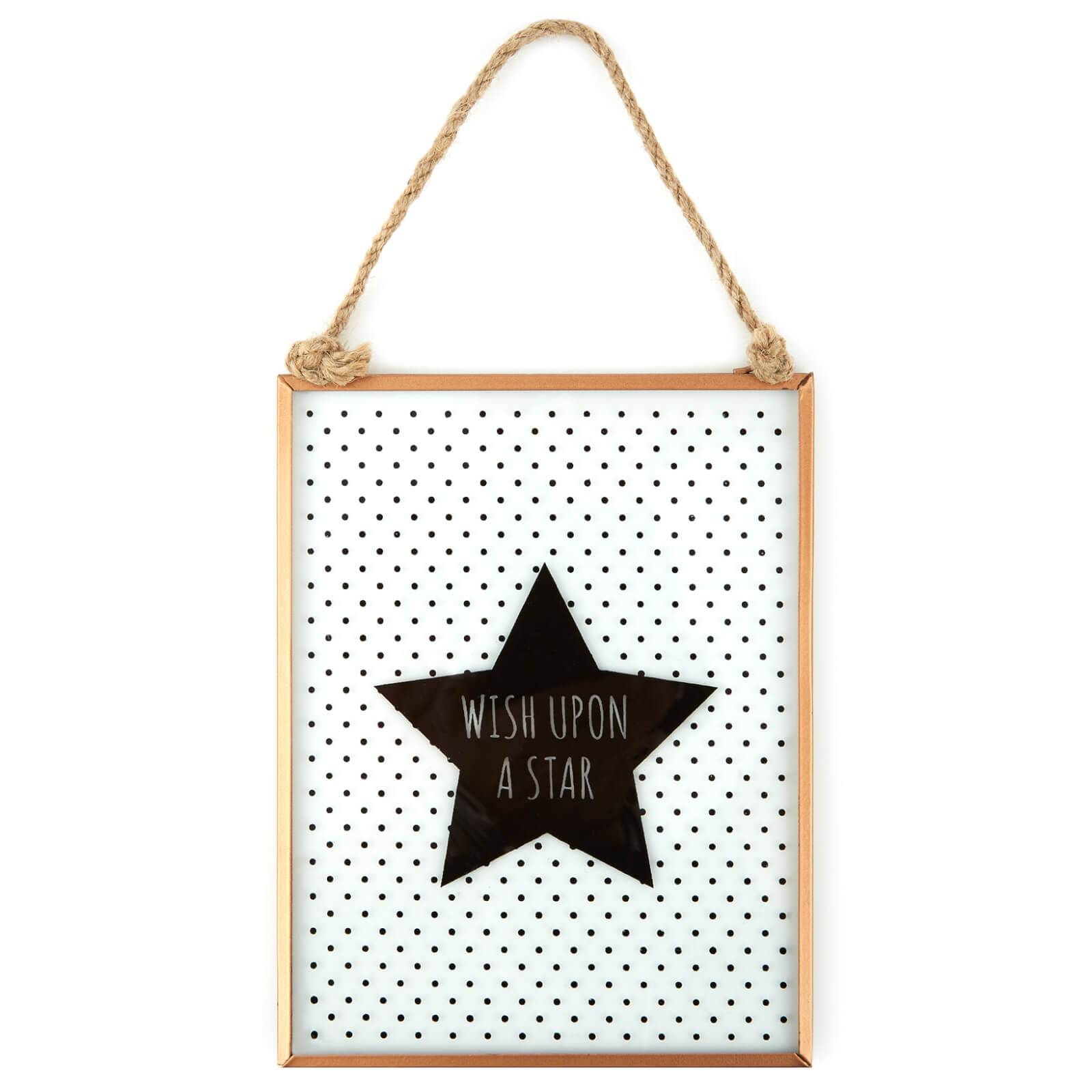 Jones Home and Gift Slogan Glass Plaque - Wish Upon a Star