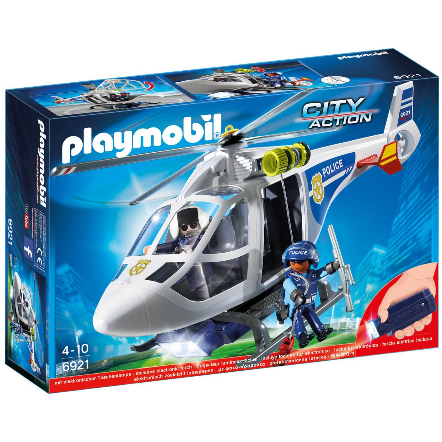 Playmobil City Action Police Helicopter with LED Searchlight (6921)