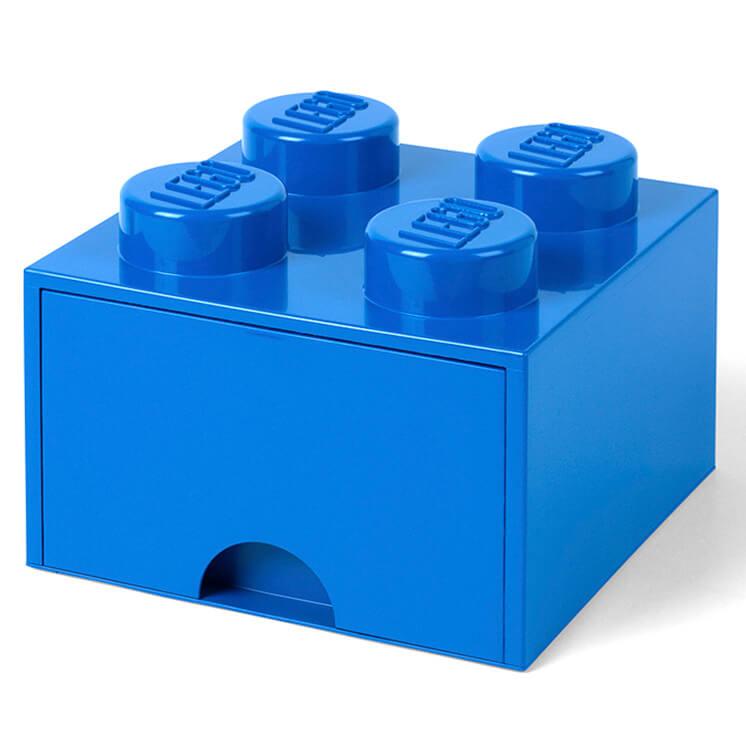 Lego Storage 4 Knob Brick - 1 Drawer (Bright Blue)