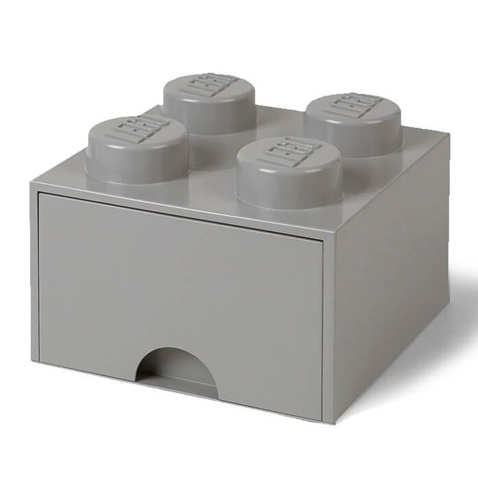 Lego Storage 4 Knob Brick - 1 Drawer (Medium Stone Grey)