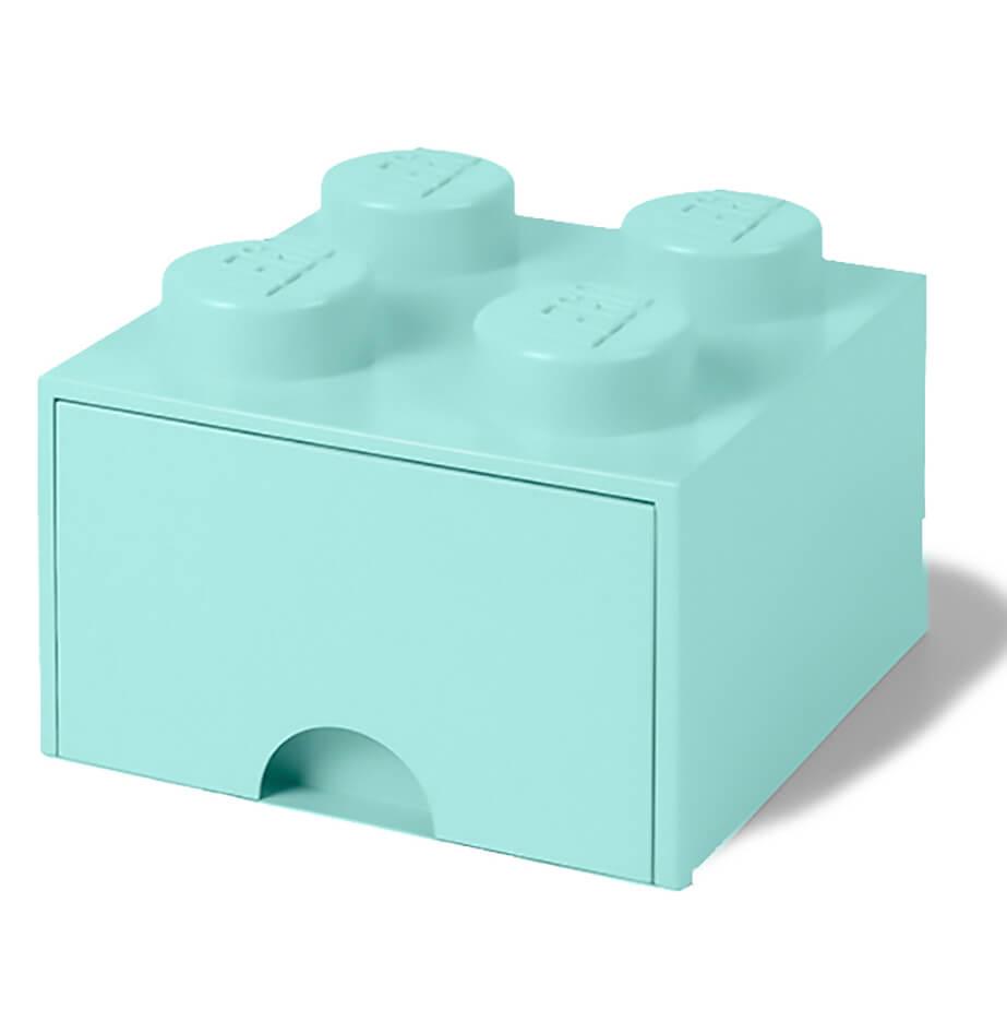 Lego Storage 4 Knob Brick - 1 Drawer (Aqua Light Blue)