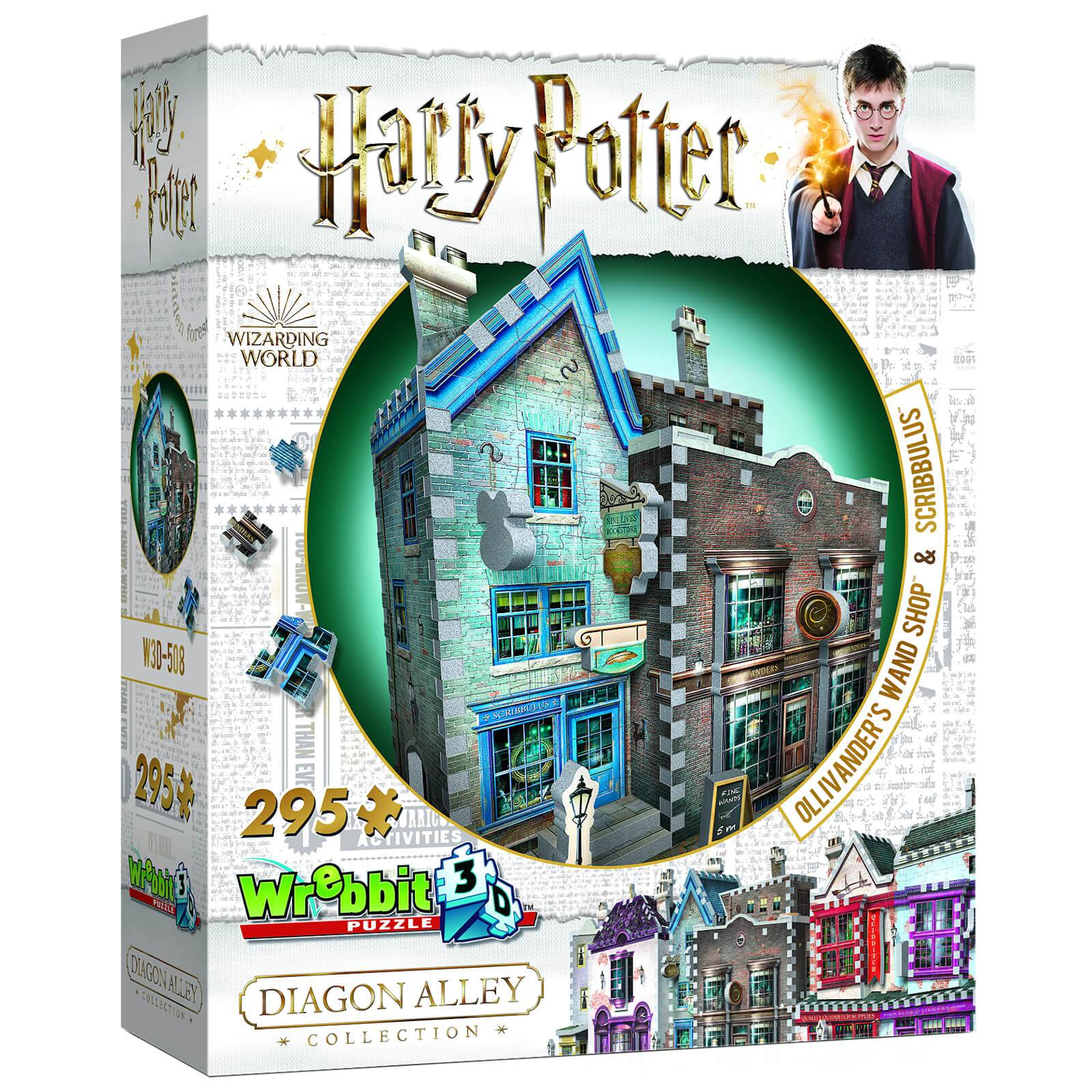 Wrebbit Harry Potter Diagon Alley Collection Ollivander's Wand Shop and Scribbulus 3D Puzzle (295 Pieces)