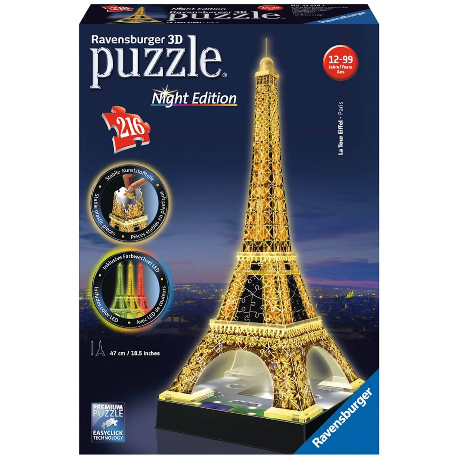 Ravensburger Eiffel Tower Night Edition 3D Jigsaw Puzzle (216 Pieces)