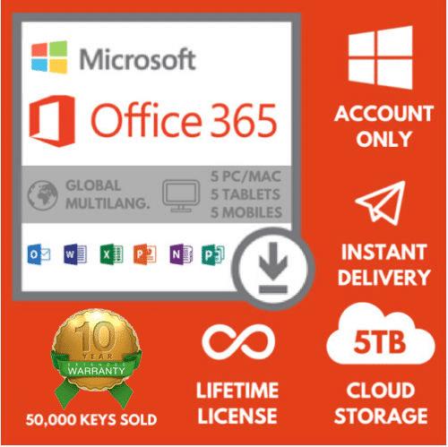 Microsoft Office 365 ProPlus (Lifetime License) + 1TB Cloud Desk, 5TB Web