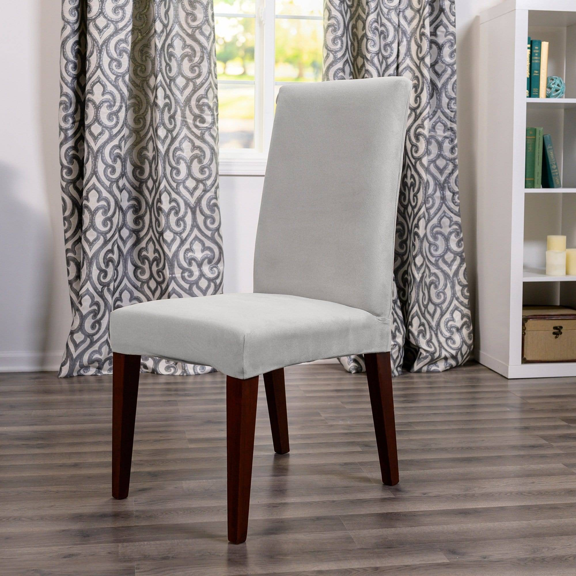 Ultimate Stretch Suede Dining Room Chair Cover - Dining Chair / Light Gray