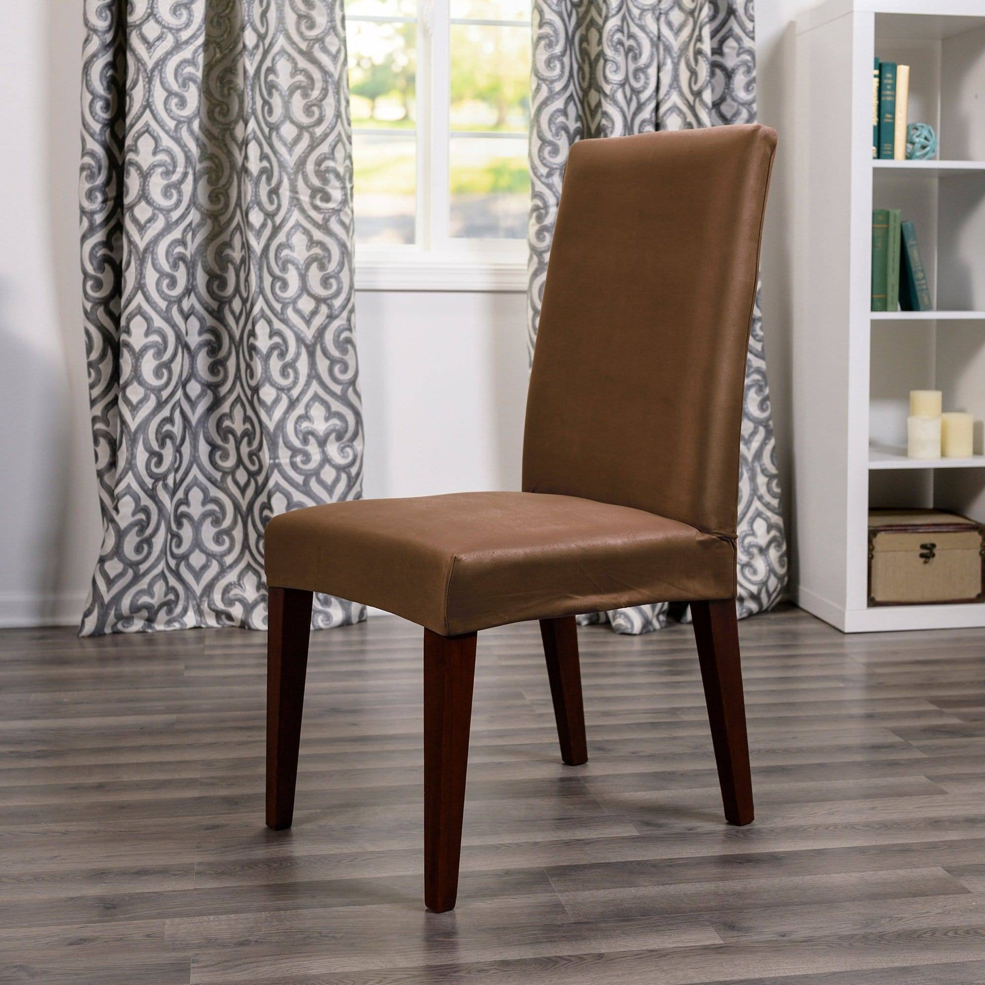 Ultimate Stretch Suede Dining Room Chair Cover - Dining Chair / Luggage