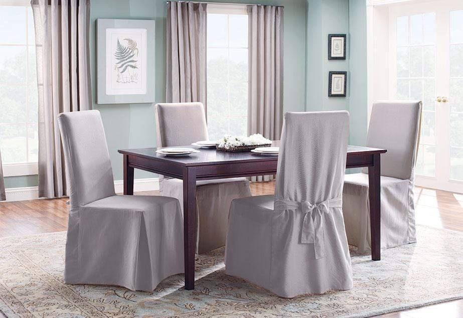 Cotton Duck Long Dining Chair Slipcover One Piece 100% Cotton Machine Washable - Dining Chair / Gray