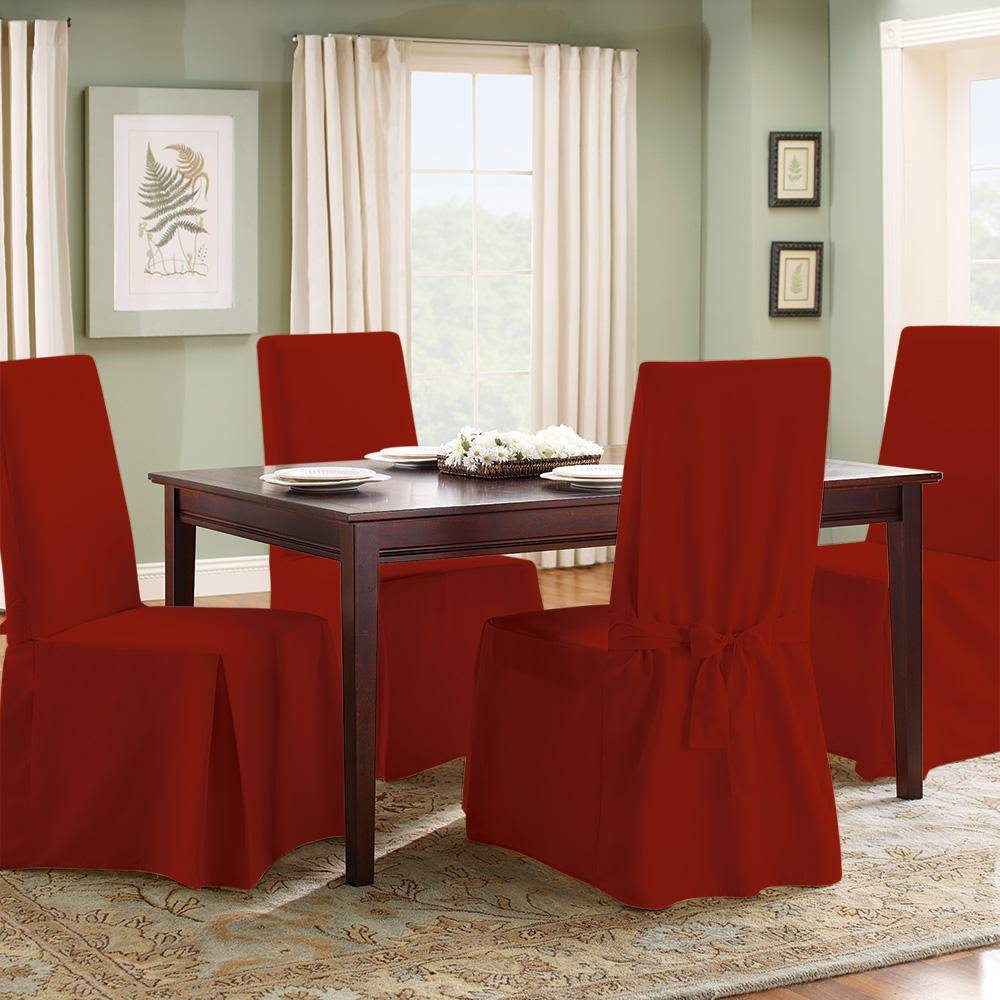 Cotton Duck Long Dining Chair Slipcover One Piece 100% Cotton Machine Washable - Dining Chair / Claret