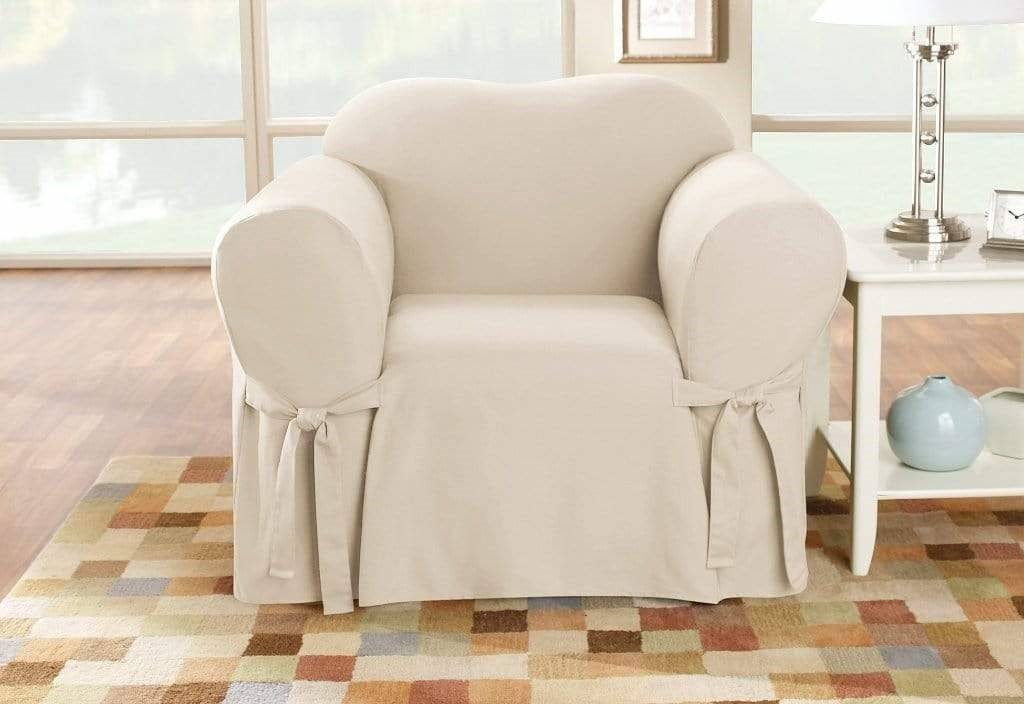 Cotton Duck Slipcovers 100% Cotton Machine Washable Natural - Armchair / Natural