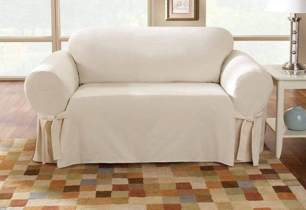 Cotton Duck Slipcovers 100% Cotton Machine Washable Natural - Loveseat / Natural