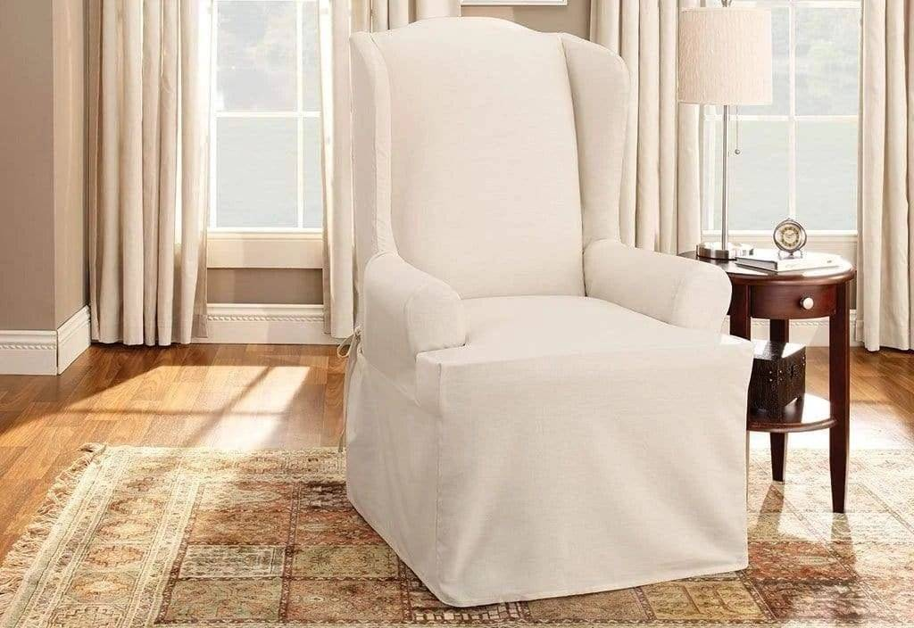Cotton Duck Slipcovers 100% Cotton Machine Washable Natural - Wing Chair / Natural