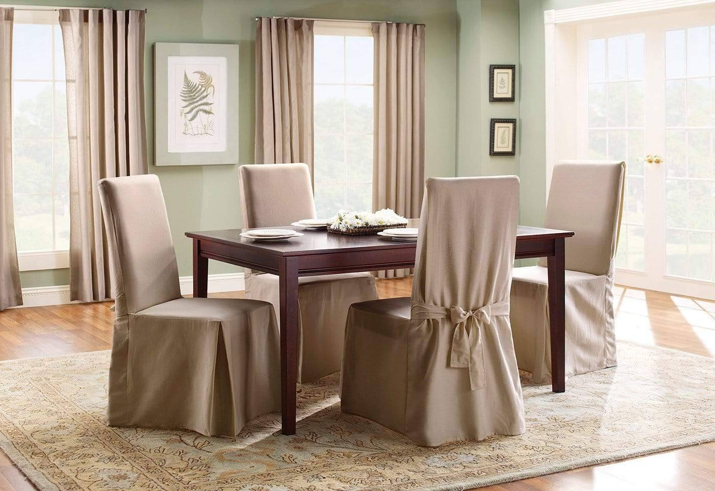 Cotton Duck Long Dining Chair Slipcover One Piece 100% Cotton Machine Washable - Dining Chair / Linen
