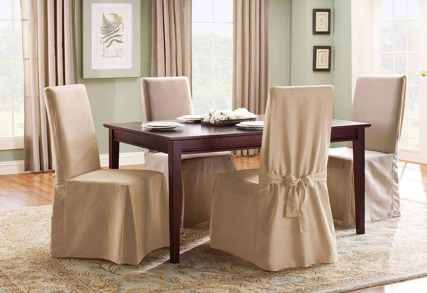 Cotton Duck Long Dining Chair Slipcover One Piece 100% Cotton Machine Washable - Dining Chair / Tan