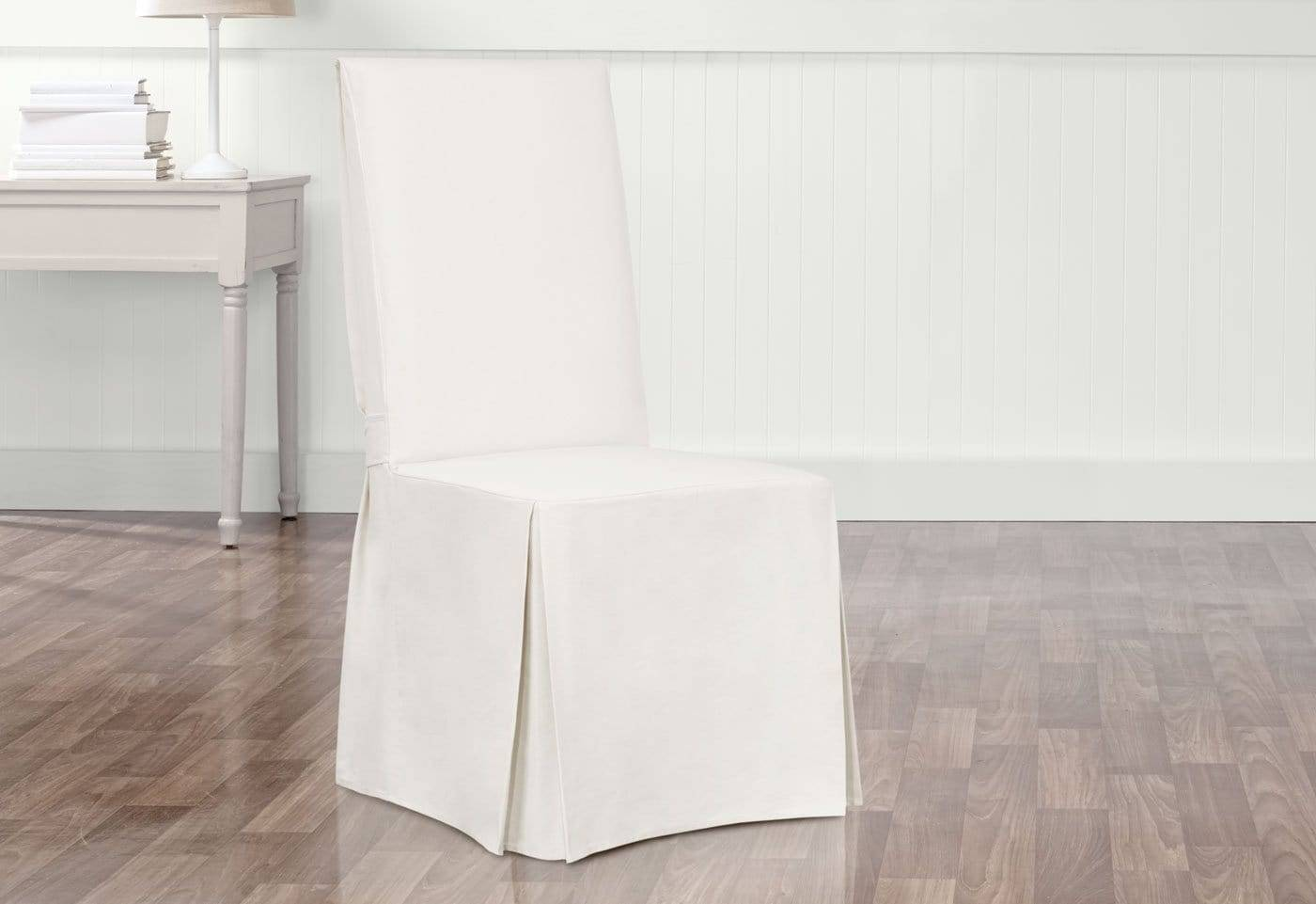 Essential Twill Long Dining Chair Slipcover 100% Cotton Machine Washable Scotchgard™ - Dining Chair / White