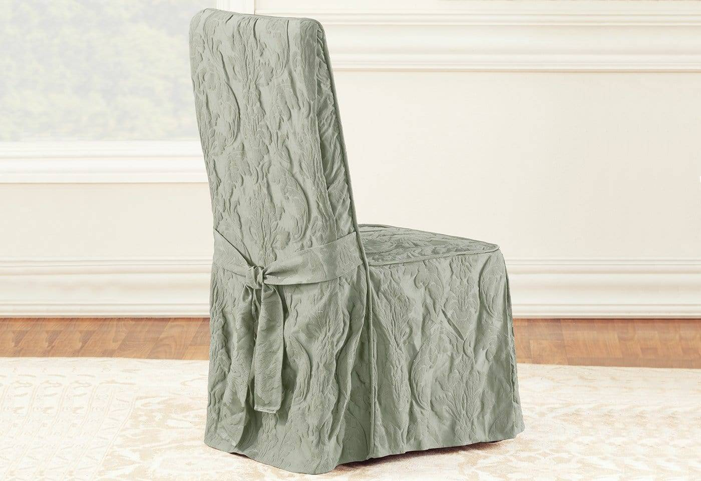 Matelasse Damask Long Dining Chair Slipcover - Dining Chair / Sage
