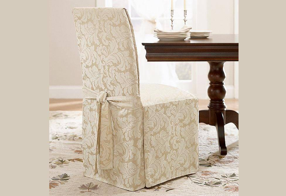 Scroll Long Dining Chair Slipcover - Dining Chair / Champagne