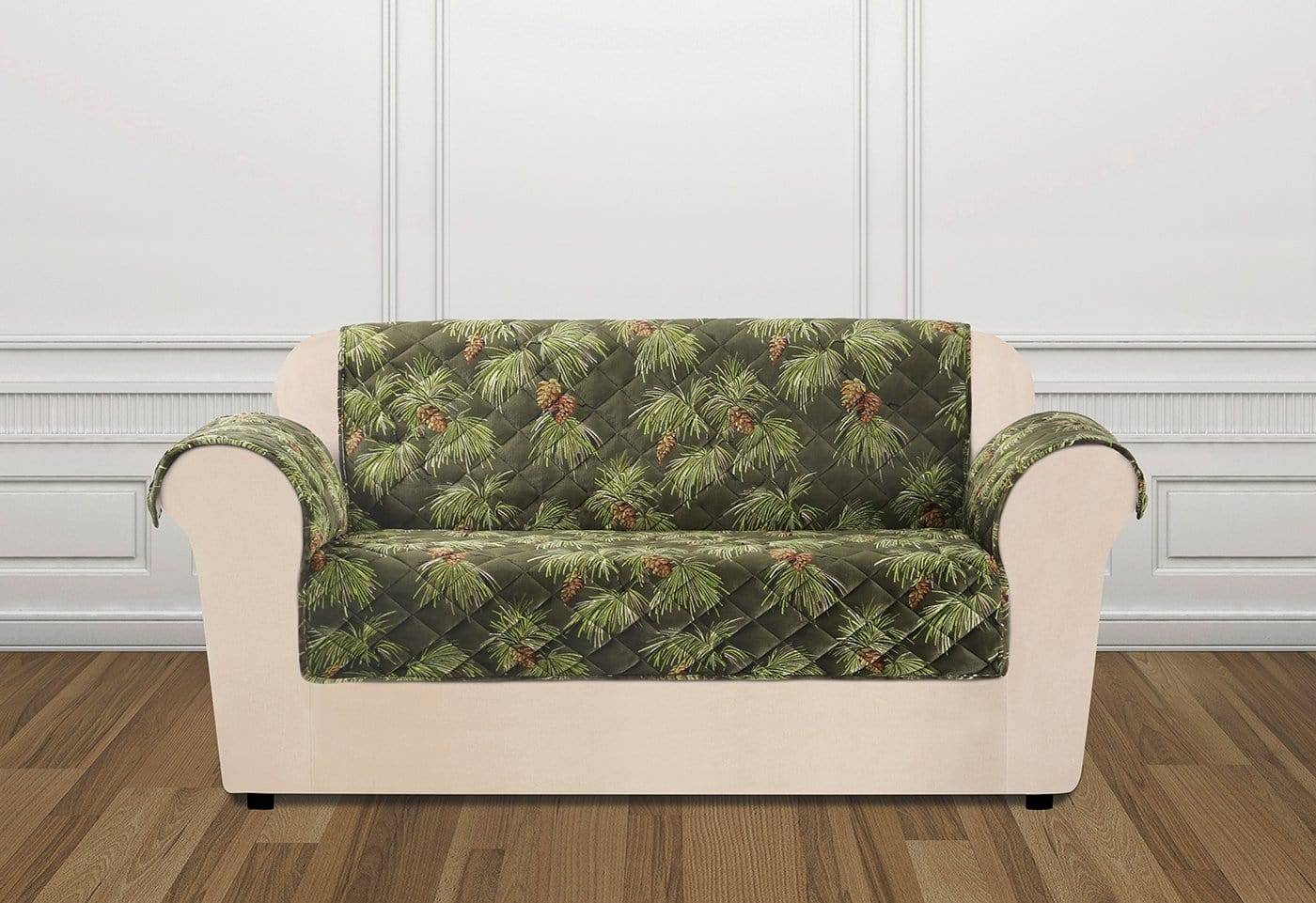 Holiday Loveseat Furniture Cover 100% Polyester Pet Furniture Cover Machine Washable - Loveseat / Pinecone Evergreen