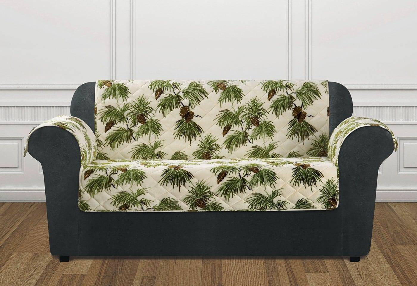 Holiday Loveseat Furniture Cover 100% Polyester Pet Furniture Cover Machine Washable - Loveseat / Pinecone Ivory