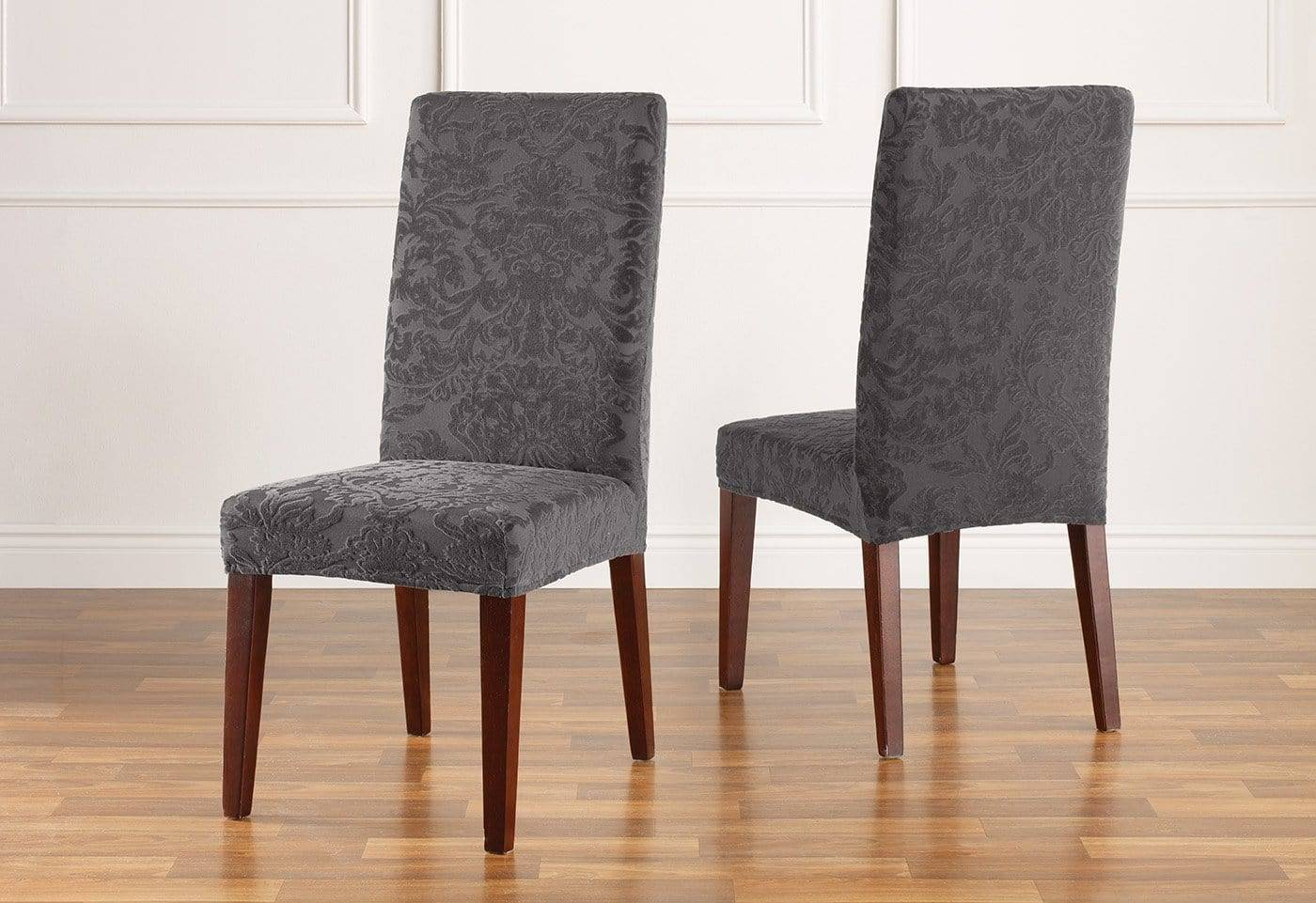 Stretch Jacquard Damask Short Dining Chair Slipcover Form Fit Machine Washable - Dining Chair / Gray