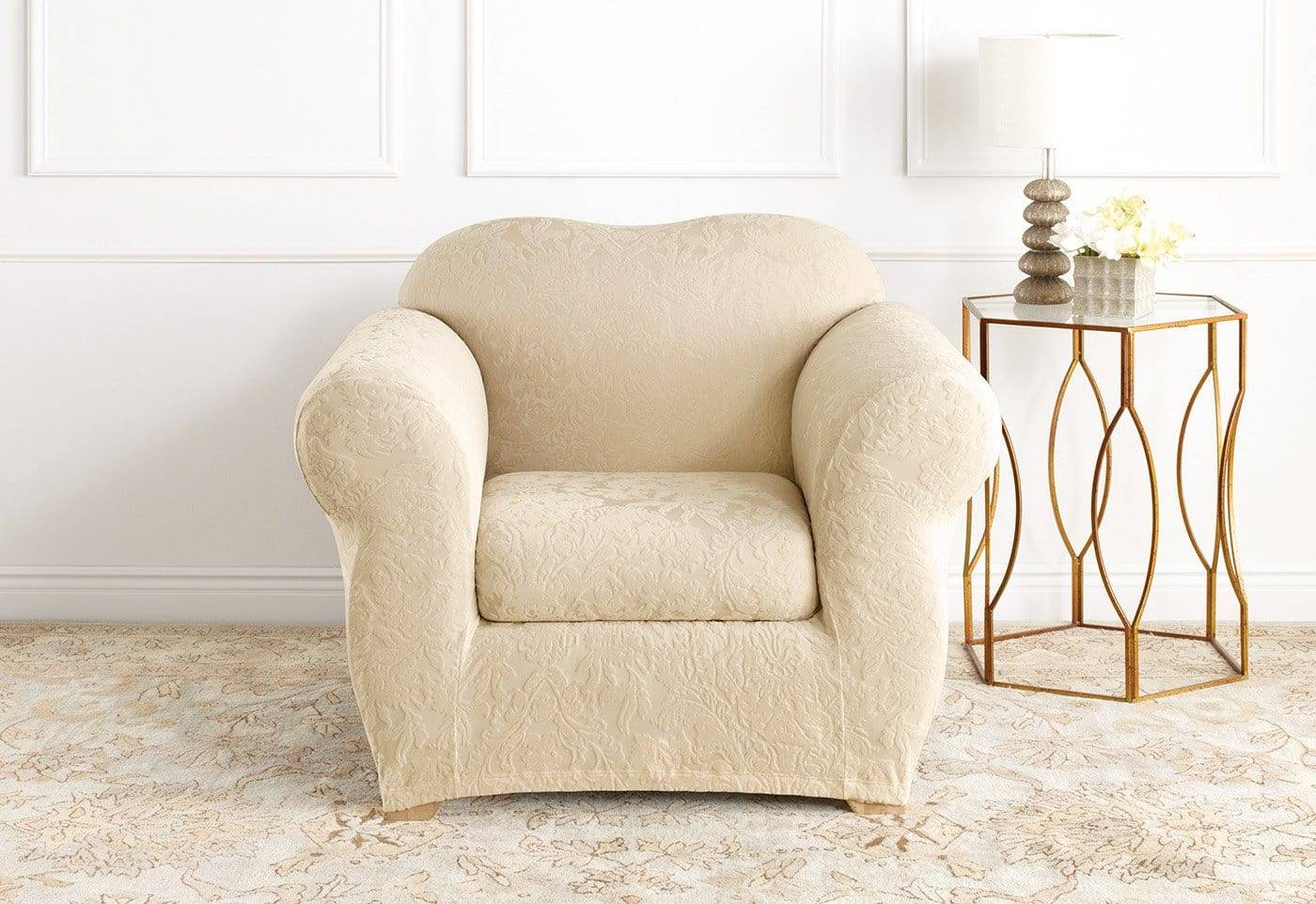 Stretch Jacquard Damask Two Piece Chair Slipcover Form Fit Machine Washable - Chair / Box Cushion / Oyster