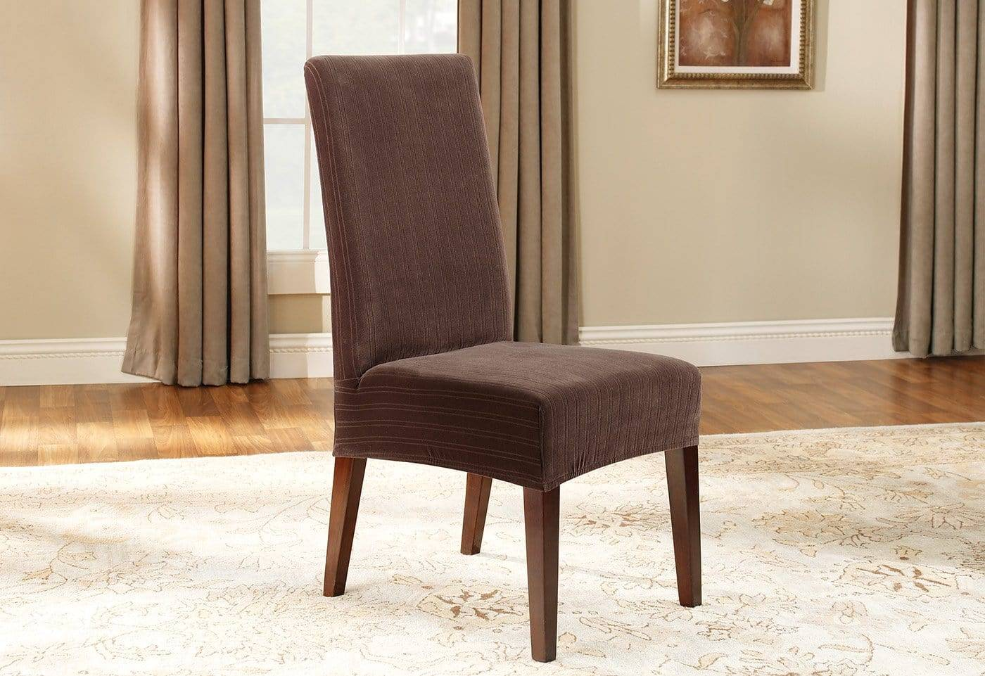 Stretch Pinstripe Short Dining Chair Slipcover - Dining Chair / Chocolate