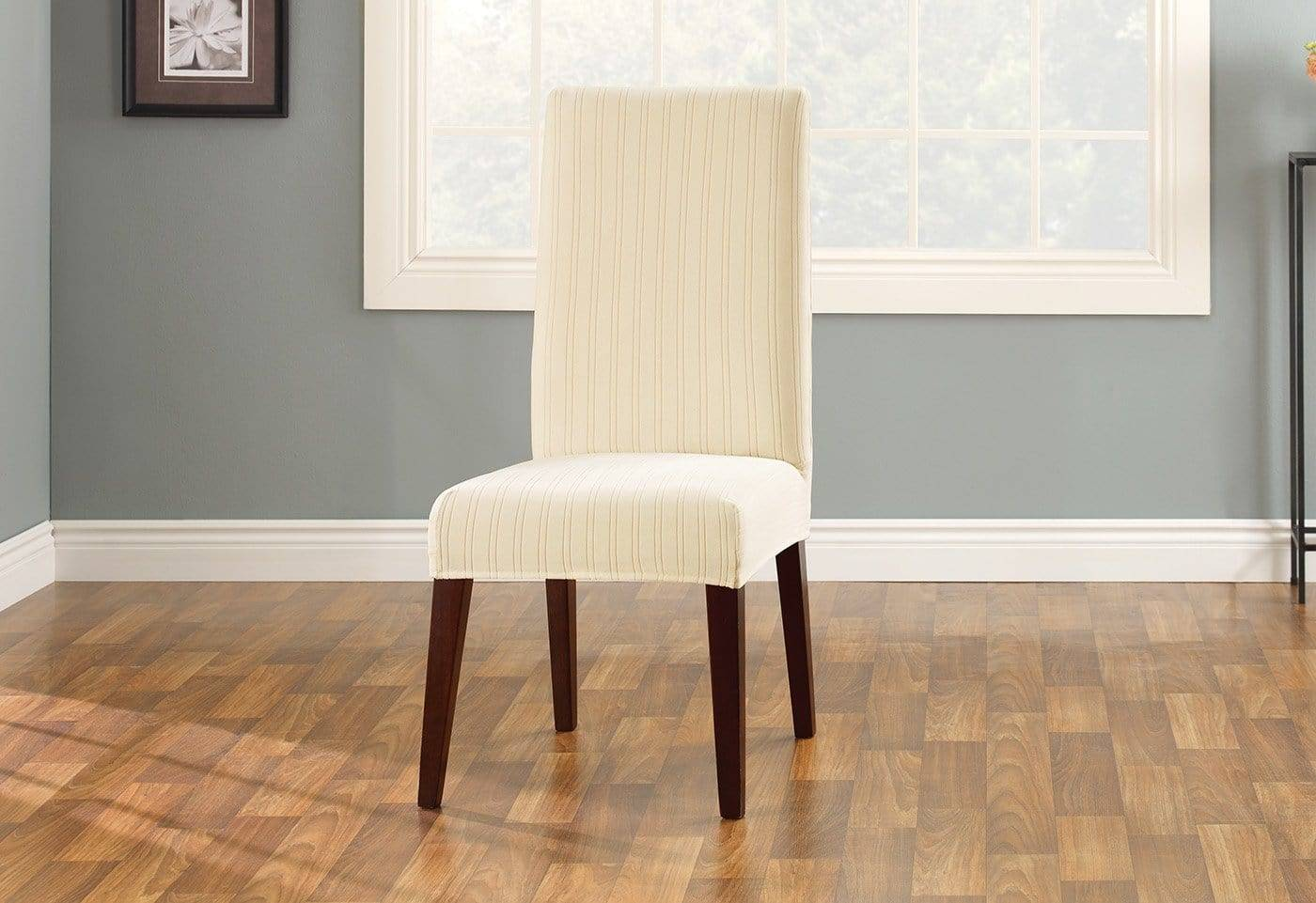 Stretch Pinstripe Short Dining Chair Slipcover - Dining Chair / Cream