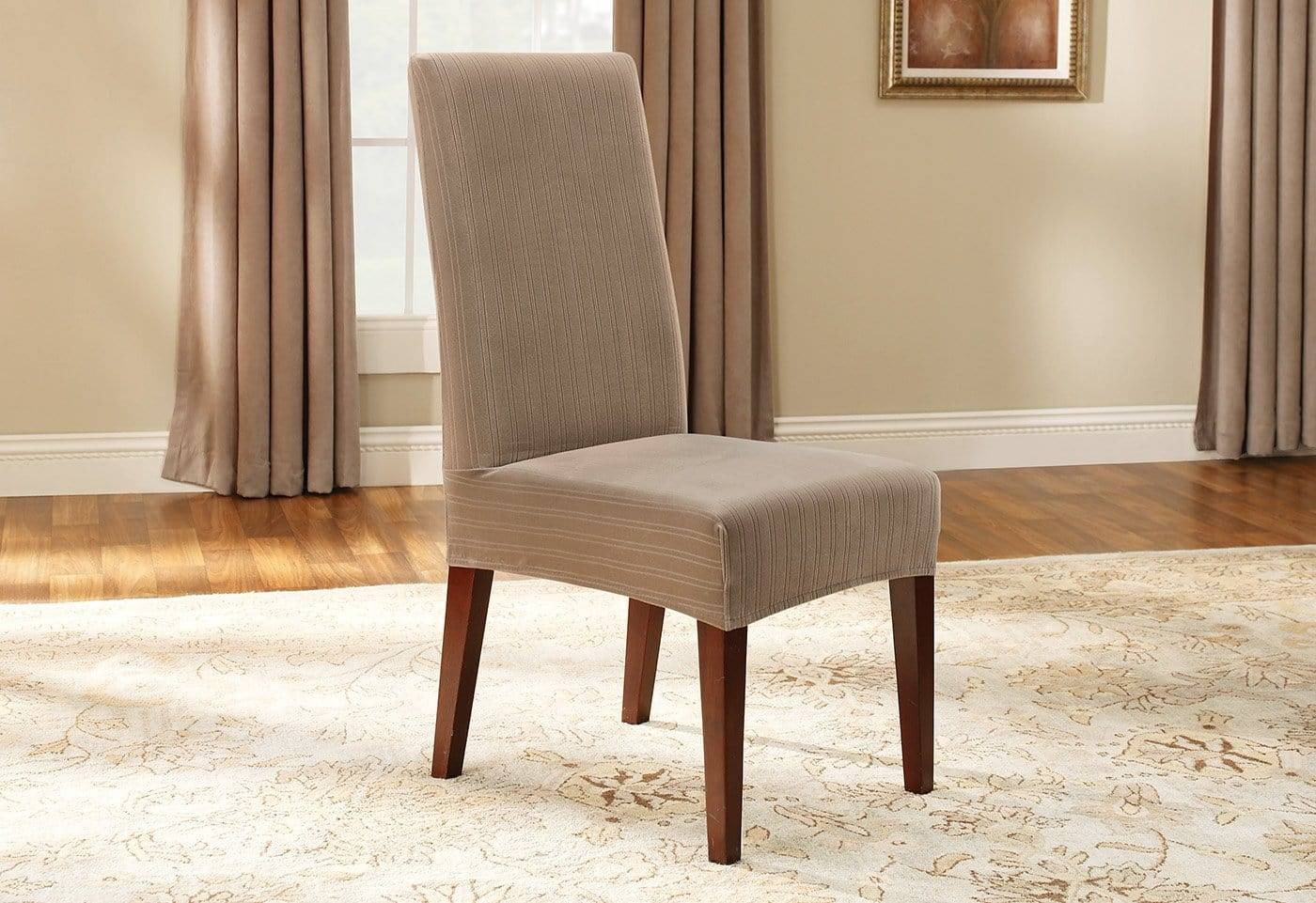 Stretch Pinstripe Short Dining Chair Slipcover - Dining Chair / Taupe