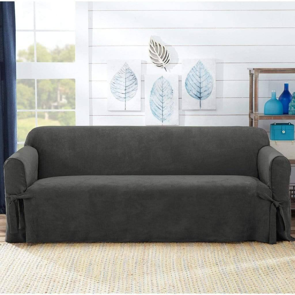 Sueded Twill Sofa Slipcover Relaxed Fit 100% Polyester Machine Washable - Sofa / Convertible / Gray